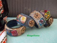 Bratari Materiale reciclabile folosite  - dopuri de pluta, taiate, pictate si pirogravate manual  - plastic pet  - material de blugi nefolositi  - zat de cafea