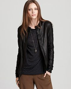 Vince Jacket - Leather Crewneck - Coats & Jackets - Apparel - Contemporary - Bloomingdale's