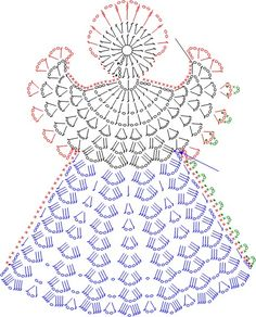 Tricô e Crochê - Knitting and Crochet: Enfeite de Natal em Crochet - Anjo Natalino Crochet Angel Pattern, Crochet Angels, Crochet Diagram, Crochet Chart, Thread Crochet, Filet Crochet, Crochet Motif, Crochet Flowers, Knit Crochet