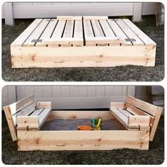 DIY Sandbox with lid and benches