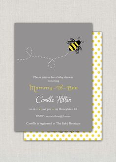 Bumble Bee Baby Shower Invitation by announcingyou on Etsy, $15.00