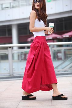 729ed5df879 Maxi Skirt Lagenlook Big Pockets Big Sweep Long Skirt in Rose Red Summer  Linen Skirt - NC313
