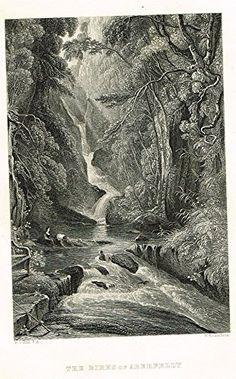 "Scotish Robert Burns Topographicals - ""THE BIRKS OF ABERFELDY"" - Steel Engraving - 1863"