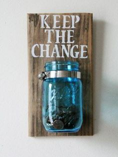 What a fabulous rustic addition to any home! Give this as a gift or keep it for yourself, or both! This Mason jar change organizer can be used anywhere in your home for added rustic decor. Dimensions #rustichomedecor