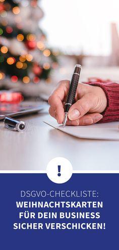 Achtung DSVGO! Auch bei den geschäftlichen Weihnachtskarten müssen Unternehmen auf die Datenschutzgrundverordnung achten! Informiert euch jetzt was ihr beachten müsst, damit ihr als Unternehmen oder Firma noch problemlos Weihnachtspost an eure Kunden und Geschäftspartner schicken könnt. Schließlich sind geschäftliche Weihnachtskarten als Vorlage schnell gestaltet und festigen die Geschäftsbeziehungen nachhaltig! Company Christmas Party Ideas, Christmas Is Coming, Business, Xmas Cards, Templates