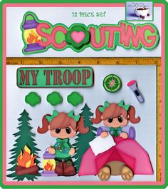 SCOUTING ~ girl scouts premade scrapbook pages 12 pc 3D paper piecing CHERRY #BowlFullofCherriesScrabpooking