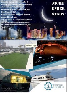 RAMADAN Special Offer BUTINAH CHARTERS Cornich Road. Contact: T: 00971 2 6908914 M: 00971 50 613 1755