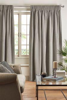 Soft Velour Pencil Pleat Curtains