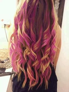 hair styles for long hair hair colors for long hair Ombré Hair, Her Hair, Wavy Hair, Goth Hair, Hair Weft, Hair Tie, Pink Dip Dye, Dip Dyed, Curly Hair Styles