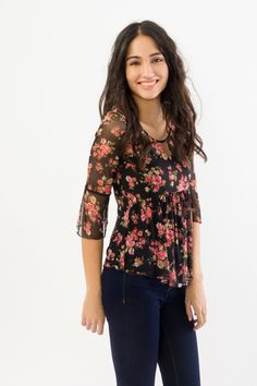 Suzy Shier Floral Mesh Top with 3/4 Ruffle Sleeves