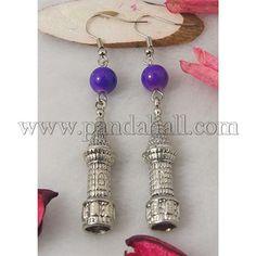 Torre di moda ciondola, con ciondoli di stile tibetano, perline di vetro e ganci di orecchini in ottone, blu viola, 70mm all'ingrosso - It.Pandahall.com