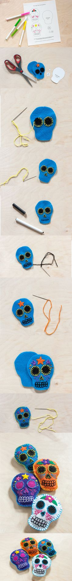 DIY: Felt Sugar Skull Sachets Sugar Skull Crafts, Sugar Skull Art, Sugar Skulls, Mexican Skulls, Mexican Art, Felt Diy, Felt Crafts, Day Of The Dead Skull, Halloween Crafts