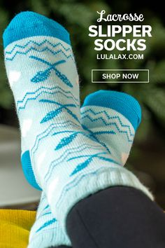 Cozy up this winter with our plush and warm lacrosse slipper socks, with patterned knit designs and a sherpa fleece lining for the ultimate in comfort and warmth. Who doesn't love warm and toasty feet, especially after a long game or day of practice?