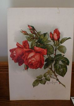 paul de longpre paintings of flowers   Paul De Longpre Early 1900's Red Roses Art by vintageheartstrings