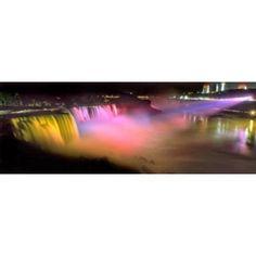 Niagara Falls at night Niagara River Niagara County New York State USA Canvas Art - Panoramic Images (18 x 7)