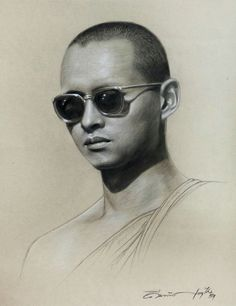 My King, King Queen, King Drawing, King Painting, Queen Sirikit, Bhumibol Adulyadej, Curve Design, Thailand, Portrait