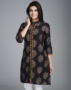 Cotton Printed Front Placket Mini Kurta