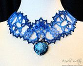 Blue lace necklace tatted with dichroic glass pendant Victorian style original fiber art jewelry