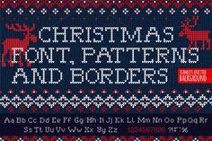Knitted FONT & patterns (UL) by VasilkovS on @creativemarket