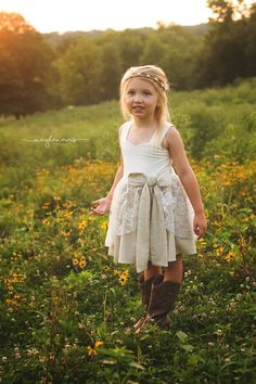 Country Rustic Flower Girl Dress Flower Girl by CountryCoutureCo