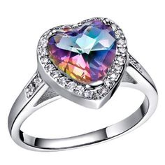 Silver Plated Heart Ring Color Austrian Rainbow Crystal CZ Ring For Women Luxury Wedding Rings Romantic Christmas Gift