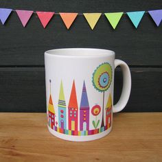 Adorable :: HOUSES MUG with gift box by CarolineRoseArt on Etsy