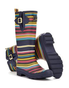 Joules Womens Print Welly / Rain Boot, Navy Multi Stripe.