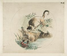 Cat and Crab (Decoration for a Plate) Félix Bracquemond (French, Paris 1833–1914 Sèvres) Date: 1850–1914 Medium: Etching and watercolor