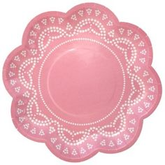 Lovely Lace Paper Plates: Cotton Candy Pink, and matching cups.  Cute enough to not be tea cups.