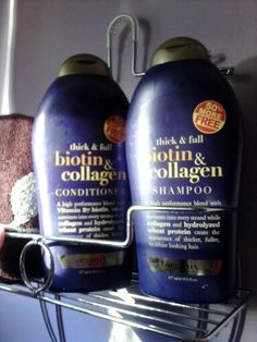 Need to try this for thin hair: Biotin for hair strength and length and collagen to plump up the strands