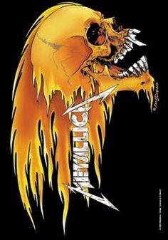 Metallica - Skull & Flames Fabric Poster