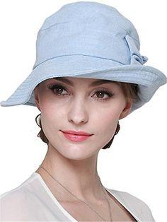 0429a0250b7 LITHER Womens Sun Protective Cotton Bucket Hat for Summer Beach Hat light  blue 2  gt