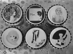 Mother's Day cupcakesSimply elegant black & white toppers inspired by 1920's couture