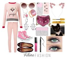 """""""Pink Cat"""" by nohealani2003 ❤ liked on Polyvore featuring Miss Selfridge, WithChic, Casetify, Gucci, Bling Jewelry, Kim Rogers, Balenciaga, Converse, Charlotte Olympia and Armour"""