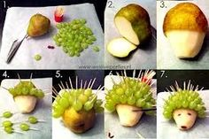 Lovely little hedgehog, made from pear and grapes. Use raisins for the eyes and nose. Healthy Birthday Snacks, Birthday Treats, Healthy Treats, Healthy Kids, Fruit Snacks, Party Snacks, Cute Food, Good Food, Fruit Animals