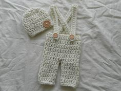 2pc Jumper overall outfit hat  size newborn by TinyAngelsBoutique, $16.00