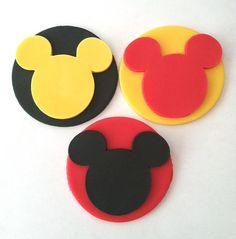 Mickey Mouse Fondant Cupcake Toppers by FancyFondants on Etsy, $15.00