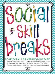 Social Skill Breaks:  Activities For The Speech Room & Classroom