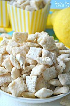 Lemon Bar Muddy Buddies - tastes just like a real lemon bar!   lemontreedwelling...