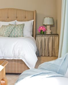 wonder if I could find material to make a headboard like this one on House of Turquoise