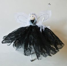 Fairy art doll handmade and unique - monochrome Fairy Godmother - Ebony-Belle - she can also be used as aTree Topper