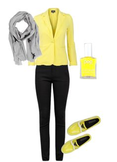 Yellow Blazer with Black Pants and Grey Scarf