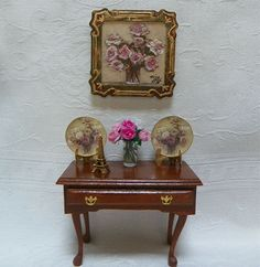 """French Rose Ensemble"" Featuring a mini painting on canvas, 2 China plates in the French Rose pattern, a vase of cabbage roses & a mini Eiffel Tower displayed on an authentic reproduction of a Queene Anne table (Circa 1740-1760) Available at www.ninasminicreations.com"