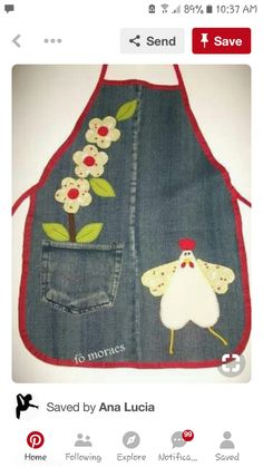 Emma Sewing Kids Clothes, Sewing For Kids, Sewing Hacks, Sewing Projects, Jean Apron, Denim Scraps, Chicken Quilt, Cool Aprons, Jean Crafts