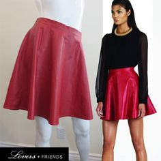 I just added this to my closet on Poshmark: Lovers + Friends Leather Skater Skirt Circle  RedNWT. Price: $50 Size: M