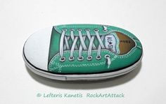 Hand painted stone Green ALL STAR ! A great handmade painted stone from me!  Is painted on a smooth sea stone which i have collected from a beach on a Greek island. Is painted with fine art quality acrylic colors and very small brushes for the detail , is signed on the back and covert with strong glossy acrylic stone varnish for protection.  Dimensions approximately : Height : 10 cm ( 3.9 in ) Width : 5.5 cm ( 2.7 in )  Your art works will arrive carefully packaged.  Recommended to be placed…