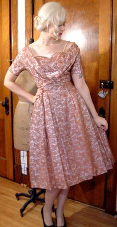 1950s Dress // Rose Lace Satin // Vintage Party Dress & Bolero // Small