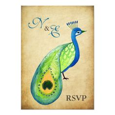 Peacock Wedding RSVP RSVP Monogram Vintage Peacock Wedding Cards