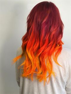 This Girl is On Fire: Celeb Luxury Colorwash Formula Ombre Hair fire ombre hair Fire Hair Color, Fire Ombre Hair, Cool Hair Color, Hair Colors, Orange Hair Dye, Orange Red, Burnt Orange, Flame Hair, Phoenix Hair