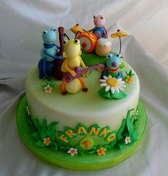 Billy Bambam, Fondant Cakes, Cupcake Cakes, Cupcakes, Bug Party Food, Baby Tv Cake, Cake Band, Baby Birthday Cakes, 2nd Birthday